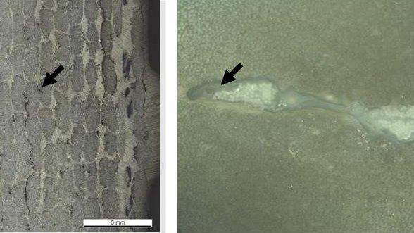 Abbildung 2 Die Querschliffanalyse einer Blattfeder aus faserverstärktem Epoxidharz zeigt Lufteinschlüsse (Pfeile) innerhalb der Matrix (Lichtmikroskopische Aufnahme mit 25- und 100facher Vergrößerung)