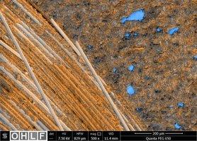 Abbildung 3 Klebversuche: Stahloberfläche (blau) mit Kunststoffbeschichtung und Glasfasern.