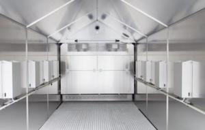 Begehbare Kombinationsprüfkammer um flexible Korrisions- und Klimawechselprüfungen von Großbauteilen durchzuführen.